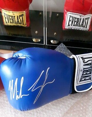 MIKE TYSON Signed Everlast Boxing Glove (BLUE) L/H