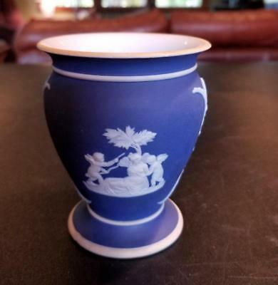 Wedgwood  Cream on Dark Blue Jasperware  Posey Pot Vase Cherubs 4 Inch
