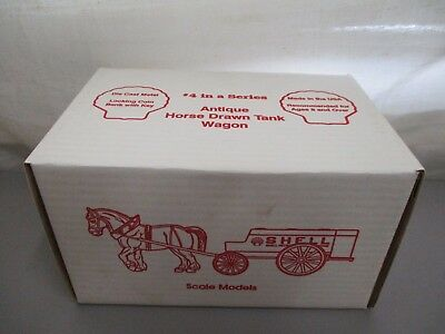 Vintage Ertl Shell Antique Horse Drawn Tank Wagon Metal Diecast Bank In Box