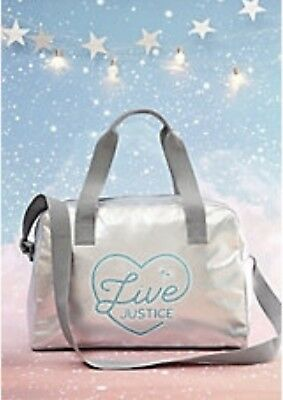 NWT JUSTICE Girls LIVE JUSTICE Silver Duffle Bag