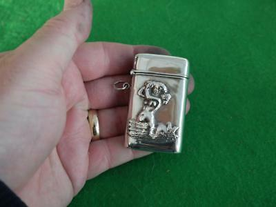 Excellent Vintage Sterling Silver Hm 925 Pretty Mermaid Match Safe Vesta Case
