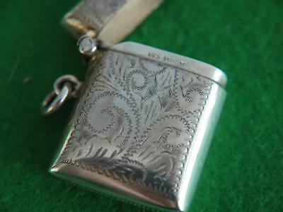 Excellent Vintage Sterling Silver Hallmarked 925 Ornate Match Safe Vesta Case
