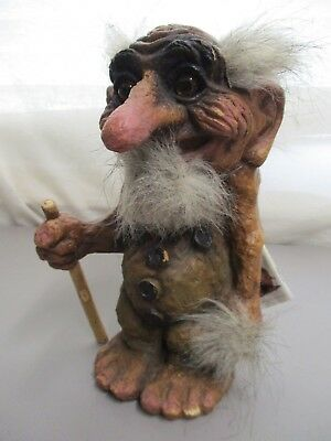 "Vintage 9"" Original Ny Form Troll Ugly Troll With Original Book Shows Some Wear"