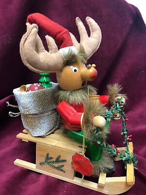 Vintage Steinbach Signed German Wooden Smoker,music Box, Rudolph With Sleigh