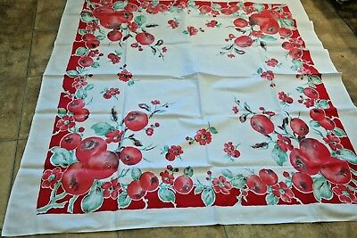 Vintage Tablecloth Pomegranate Motif Red Green EARLY