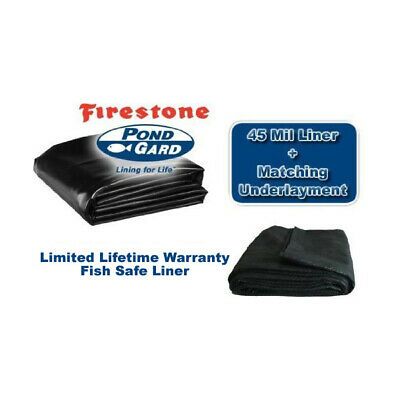 Firestone EPDM 45 MIL Koi Pond Liner and 4oz Protective Underlay -Assorted sizes