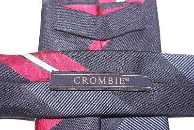 CROMBIE Silk Tie Blue, Pink And Silver Stripe Patterned