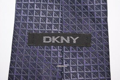 DKNY Silk Tie Navy And Lilac Patterned