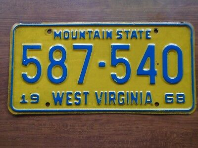 VINTAGE 1968 WEST VIRGINIA License Plate  MOUNTAIN STATE