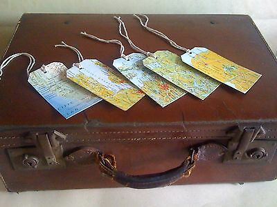 Map gift tags in style of vintage luggage label handmade with jute ties set of 5