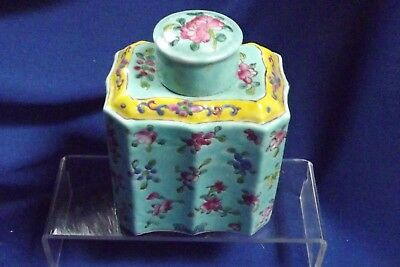 """Antique Chinese Porcelain Tea Caddy RED CALLIGRAPHY& CHINA 6""""High Lid Chip"""