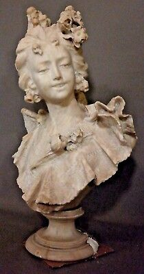 19thC Antique VICTORIAN Era CARVED ALABASTER Marble LADY BUST Sculpture STATUE