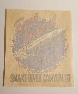 "Vintage 1974 NOS Evel Knievel ""Snake River Canyon-Sept 8th"" Iron-on Transfer"