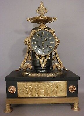 19thC Antique FRENCH Old JAPY FRERES Figural BRONZE LION BUST Greek MANTLE CLOCK