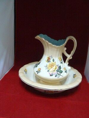 Vintage Ceramic Water Pitcher And Wash Basin