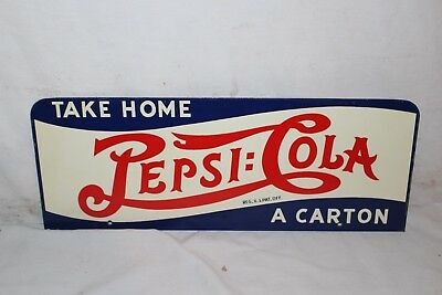 "Vintage 1940's Pepsi Cola Double Dot Soda Pop 2 Sided 16"" Metal Sign~Nice"
