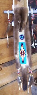 Hand Made Beaded Mink Fur Wall Hanging Rendezvous Black Powder Mountain Man