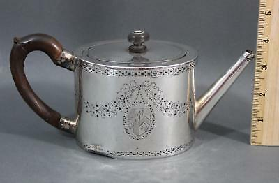 Small 19thC Antique 1820 London Sterling Silver, Hand Chased Royal Crest Teapot