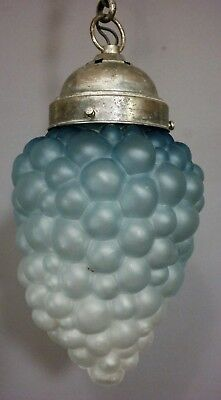 Vintage BLUE Frosted ART GLASS Kugel BUBBLE Hanging BATHROOM Old CHANDELIER LAMP