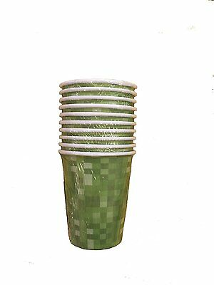 Green Block Pixelated Pattern Party Paper Cups - Pack of 10