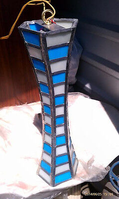 Hand Made Crafted Lighting Fixture Lamp Authentic Stained Glass Antique Art