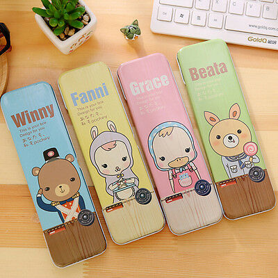 Cute Metal Tin Pencil Box Case Pen Box School Stationary Makeup Box Kids Gift *T