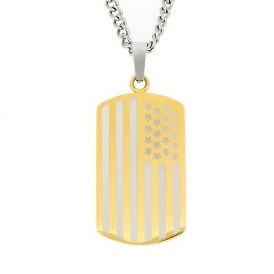 3369be62b0e3 Men s Jewelry Stainless Steel Gold-Tone American Flag Dog Tag Pendant