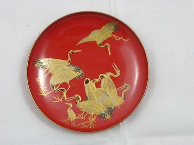 Antique Japanese lacquer sake cup with cranes and turtles 1900-15  #4253G