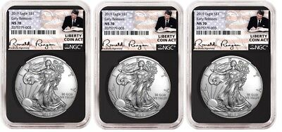 2019 1oz Silver Eagle NGC MS70 - ER Liberty A Coin Act Black Core 3 Pack