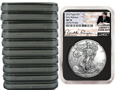 2019 1oz Silver Eagle NGC MS70  ER Liberty A Coin Act Black Core 10 Pack
