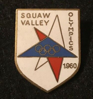 SQUAW VALLEY 1960 Winter Olympics Vtg Skiing Ski Pin CALIFORNIA Travel Souvenir