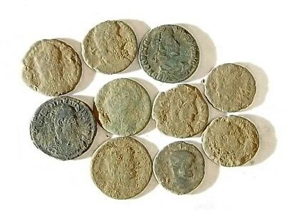 10 ANCIENT ROMAN COINS AE3 - Uncleaned and As Found! - Unique Lot 33901