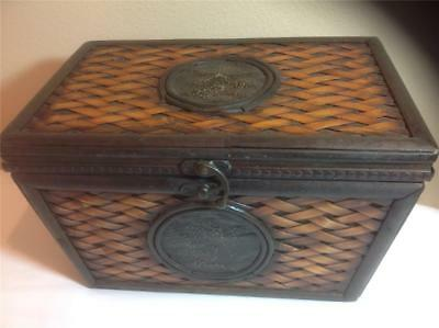 """Vintage Antique Look Bamboo & Wood DECORATIVE STORAGE BOX~Stamped Tin~13x8x8.5"""""""