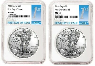 2019 1oz Silver Eagle NGC MS69 - First Day Issue - White Core - 2 Pack