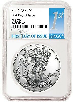 2019 1oz Silver Eagle NGC MS70 - First Day Issue - White Core - In Stock