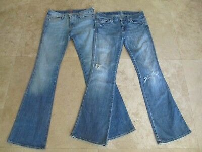 Lot, 2 misses size 28 Seven 7 For All Mankind blue jeans, distressed