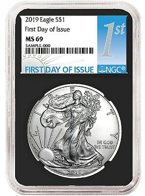 2019 1oz Silver Eagle NGC MS69 - First Day Issue - Black Core