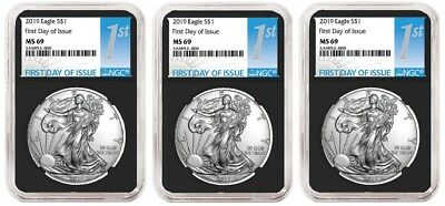 2019 1oz Silver Eagle NGC MS69 - First Day Issue - Black Core - 3 Pack