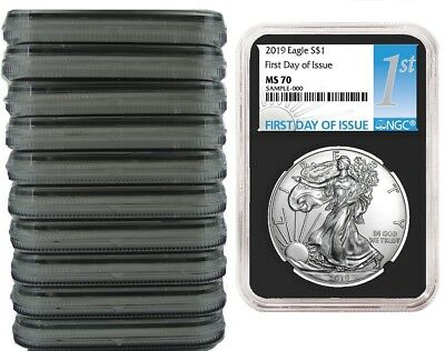 2019 1oz Silver Eagle NGC MS70 - First Day Issue - Black Core - 10 Pack
