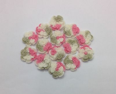 10pcs - Pink/Cream/Grey Swirl 2.5cm Double Layer Crochet Flowers