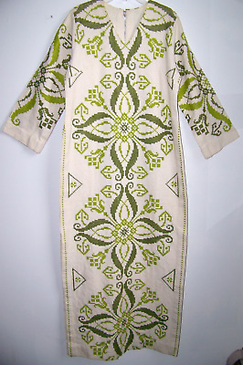 Vintage 60's 70's Hippie Bohemian Hand  Embroidered Long Caftan Dress Sz  6/8