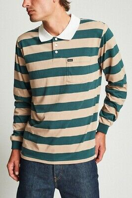 Brixton Richland LS Polo Top Mens in Khaki Green