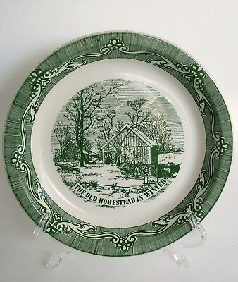 """Vtg Currier & Ives Pie Plate Royal China Old Homestead in Winter Green White 10"""""""