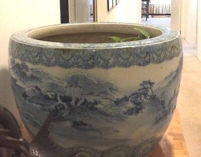 "Antique Japanese Planter-Blue And White-18"" D-20""overall-12""h"