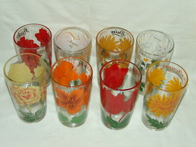 8 Peanut Butter Drinking Glasses Kitchen Rose Azalea Daffodil Violet Tulips