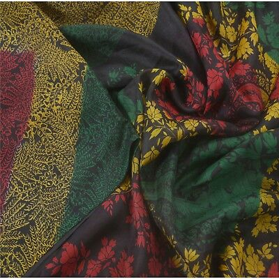 Sanskriti Vintage Saree 100% Pure Silk Paisley Printed Sari Craft 5 Yard Fabric