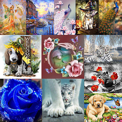 5D DIY Diamond Painting Tiger Peacock Animal Embroidery Cross Stitch Craft Decor