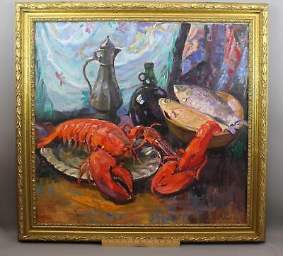 Large Original OTARI SHIUK Russian Seafood Oil Painting, Lobster & Fish, NR