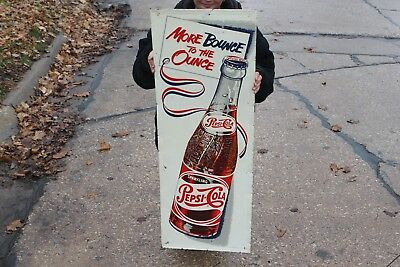 "Vintage 1950's Pepsi Cola Soda Pop Bottle Gas Station 48"" Embossed Metal Sign"