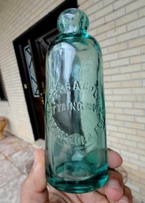 PENSACOLA BOTTLING WORKS SLUG TEAL HUTCHINSON SODA BOTTLE FLORIDA FLA ~1800's~